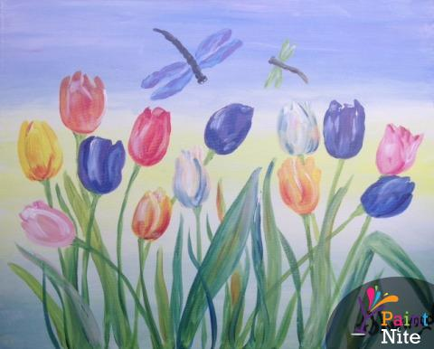 Easy spring paintings images for Spring canvas paintings