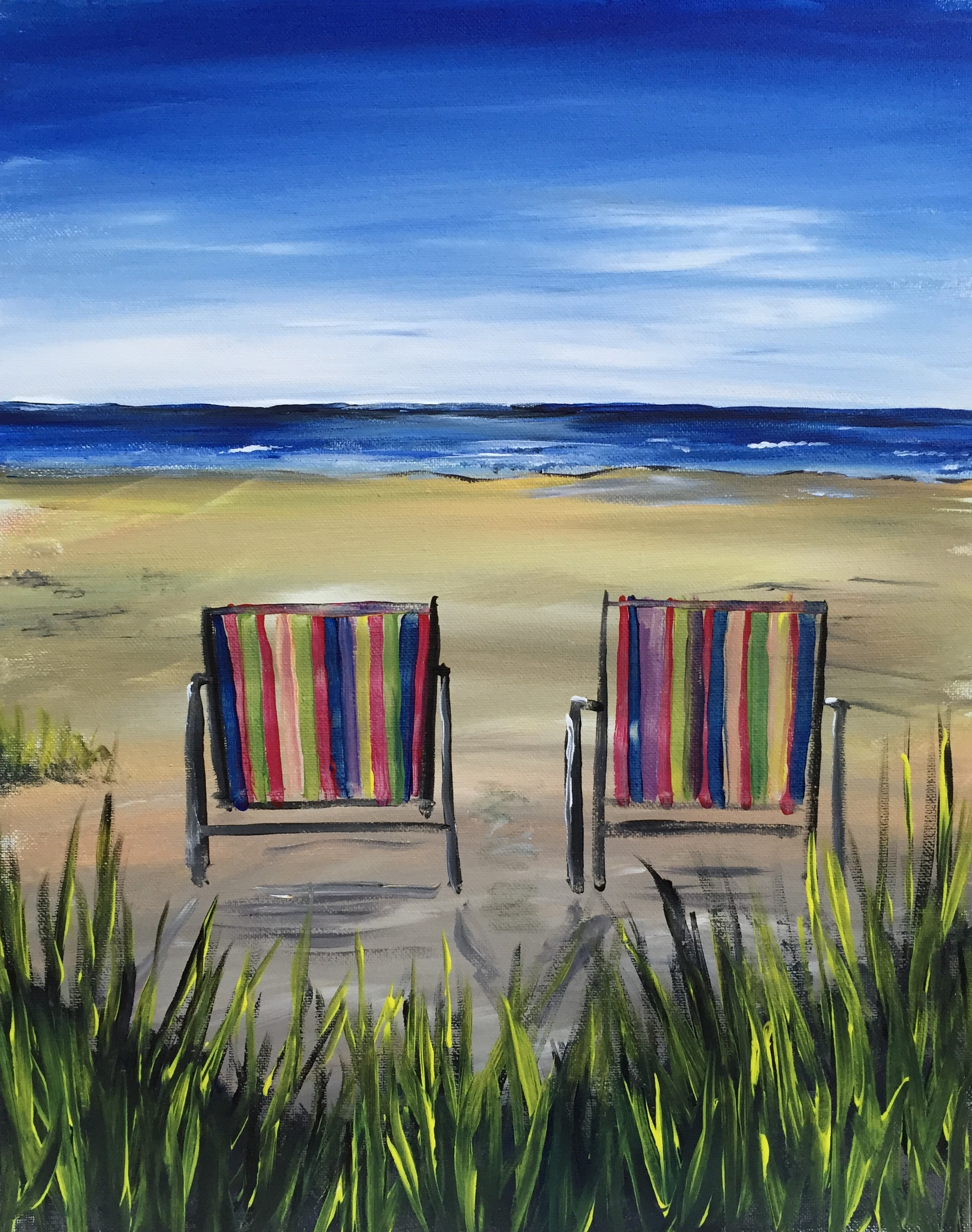 Beach chairs on the beach painting - Beach Chairs At Clubsport San Joseprivatefundraiserspecial Find This Painting