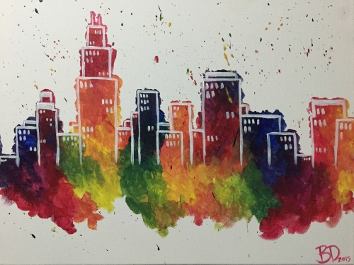 abstract city paint nite event