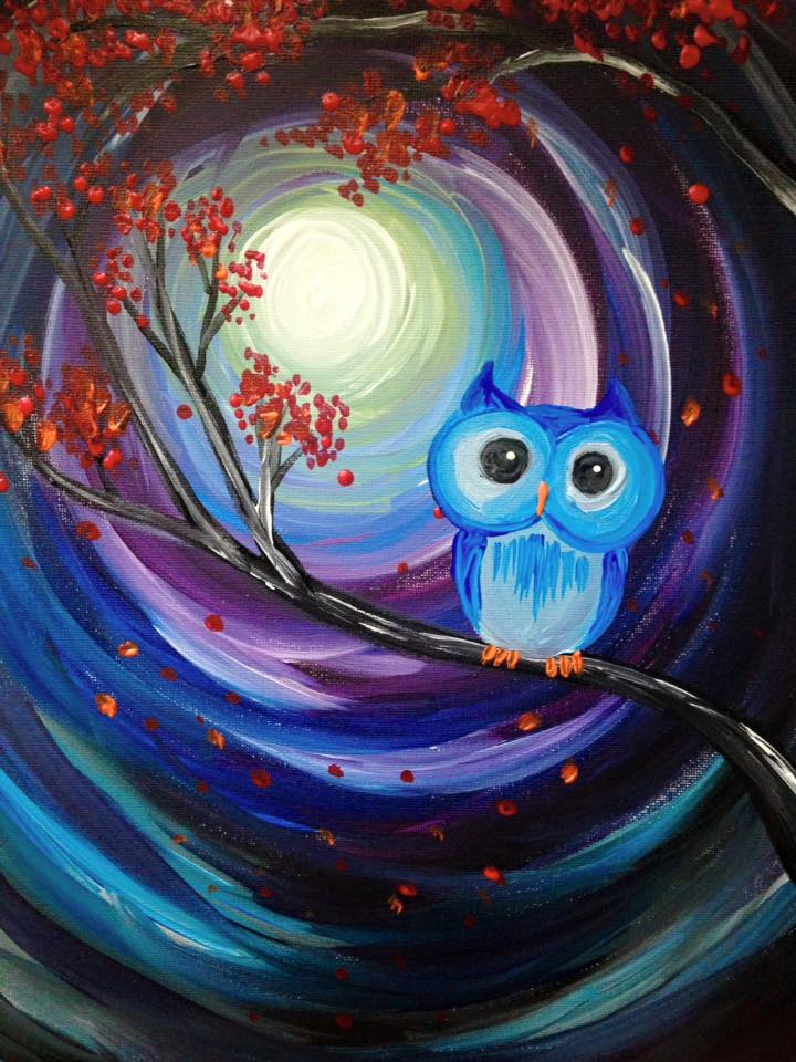 Learn to paint owl night long for How to come up with painting ideas