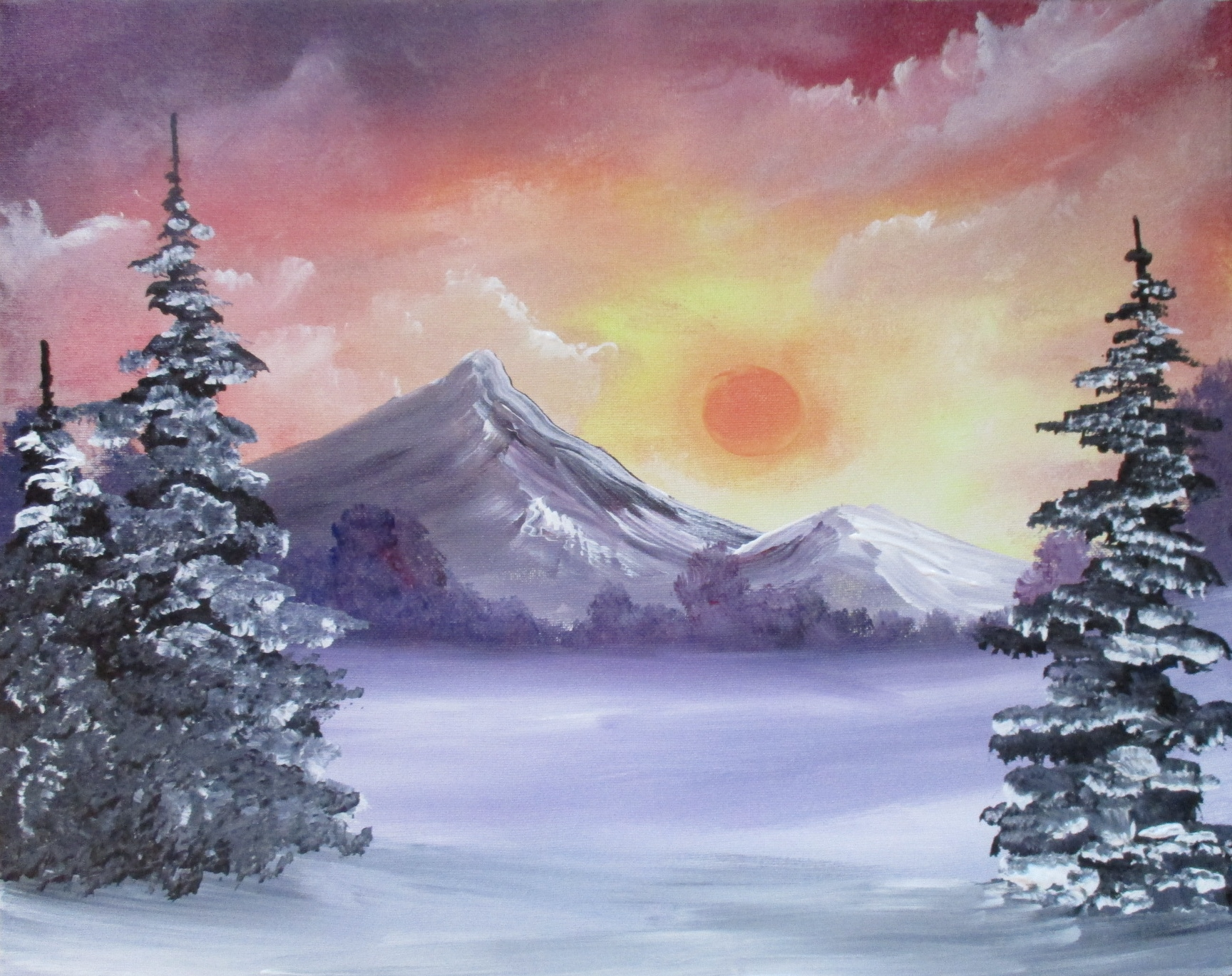 Acrylic Landscape Painting Lesson | Winter mountains and sunset