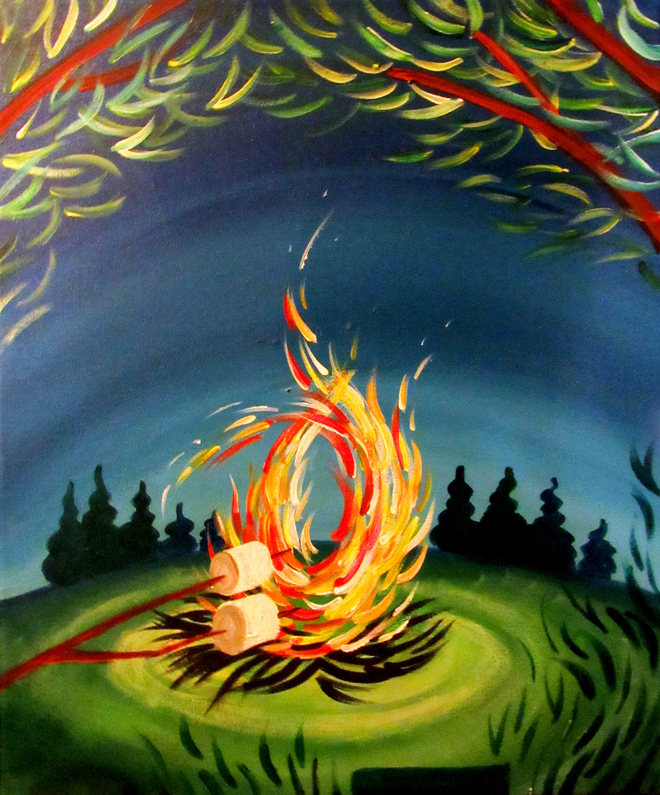 Learn to paint Campfire S'mores Campfire Painting