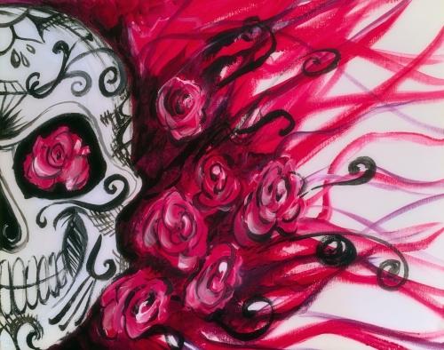 sugar skull roses at pinballz kingdomprivatefundraiserspecial