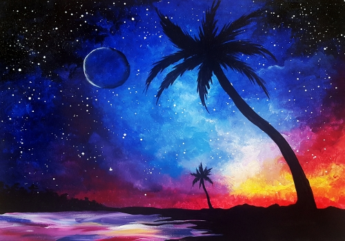 learn to paint galaxy at the beach