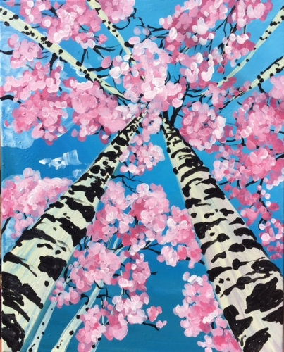 learn to paint a under a pink canopy