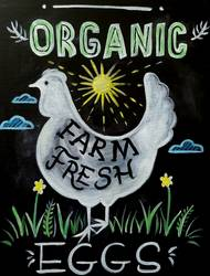 A Farmhouse Chalk Art Chicken paint nite project by Yaymaker