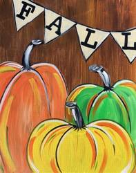 A Rustic Fall Pumpkins paint nite project by Yaymaker