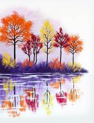 A Fall Lake Reflection paint nite project by Yaymaker