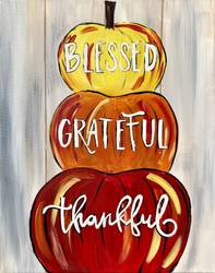 A Blessed Grateful Thankful Pumpkins paint nite project by Yaymaker