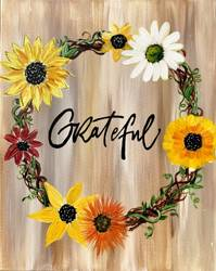 A Grateful Sunflower Wreath paint nite project by Yaymaker