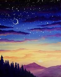 A Purple Mountain Nightfall paint nite project by Yaymaker