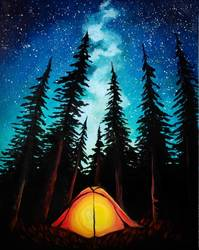 A Camping under Galaxy Stars paint nite project by Yaymaker