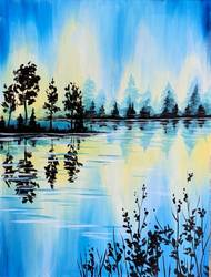 A Blue Lake Silhouette paint nite project by Yaymaker