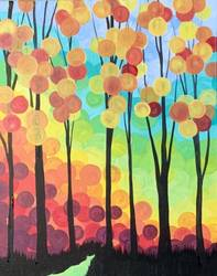 A Fall Tree Circles paint nite project by Yaymaker