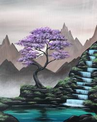A Misty Mountain Falls paint nite project by Yaymaker