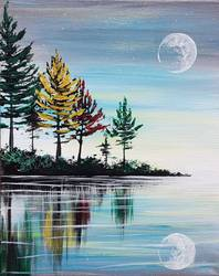 A Fall Moon Reflection paint nite project by Yaymaker