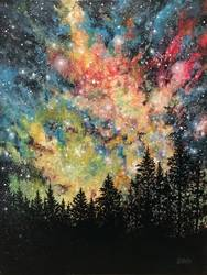 A Galaxy Forest paint nite project by Yaymaker