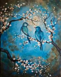 A Vintage Blue Birds paint nite project by Yaymaker