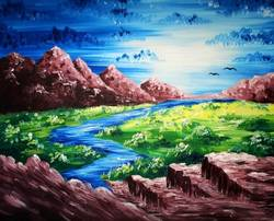 A Mountain River paint nite project by Yaymaker