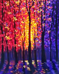 A Shimmering Forest paint nite project by Yaymaker
