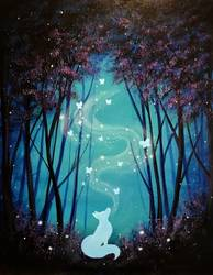 A Fantasy Fox Forest paint nite project by Yaymaker