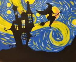 A Starry Witchy Ride paint nite project by Yaymaker