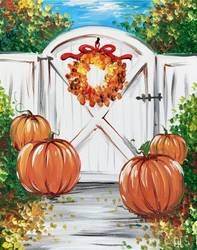 A Fall Cottage Gate With Pumpkins paint nite project by Yaymaker