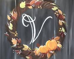 A Fall Monogram Wreath paint nite project by Yaymaker