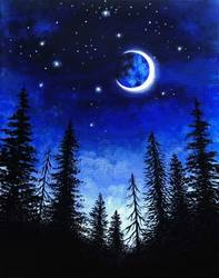 A Moon Through The Pines paint nite project by Yaymaker