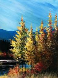 A Autumn Trees Lakeside paint nite project by Yaymaker