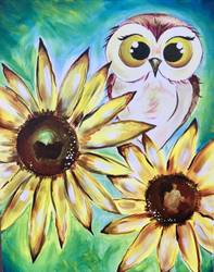 A The Owl and Her Sunflowers paint nite project by Yaymaker