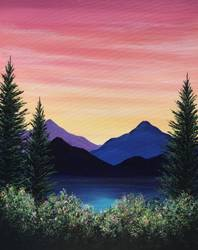 A Sunset Mountain Hike paint nite project by Yaymaker