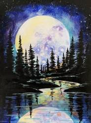 A Full Moon Forest Reflections paint nite project by Yaymaker