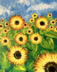A Field of Sunflower Blooms paint nite project by Yaymaker