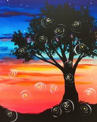 A Fireflies at Sunset paint nite project by Yaymaker