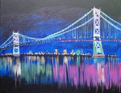 A Ben Franklin Bridge paint nite project by Yaymaker