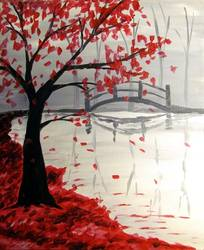 A Bridge in the Fall paint nite project by Yaymaker