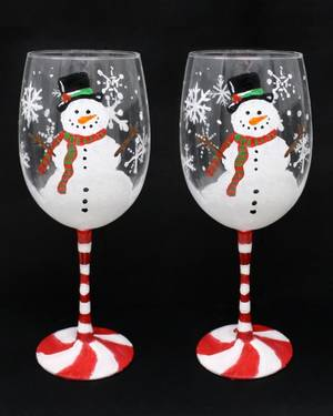 A Happy Snowman Wine Glasses paint nite project by Yaymaker