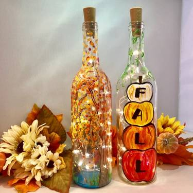 A Choose Your Fall Design  Fall Trees OR Fall Pumpkins Wine Bottle  Fairy Lights paint nite project by Yaymaker