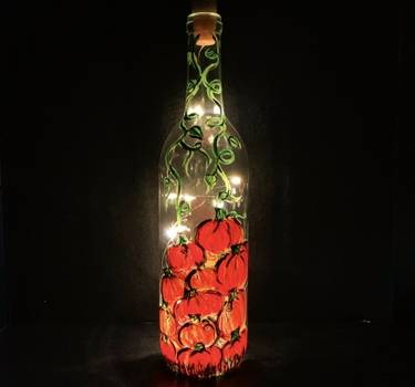 A Pumpkin Patch On A Glass Wine Bottle With Twinkling Fairy Lights paint nite project by Yaymaker