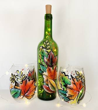 A CHOOSE Fall Leaves Bottle With Fairy Lights OR Wine Glasses paint nite project by Yaymaker
