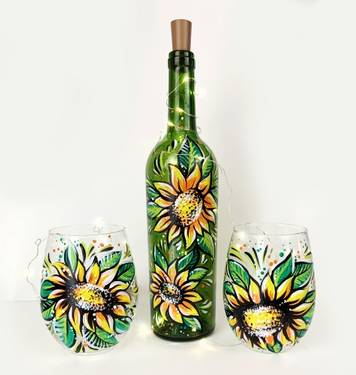 A CHOOSE Sunflowers Wine Bottle With Fairy Lights OR Wine Glasses paint nite project by Yaymaker