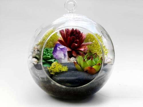 A Hanging Glass Globe Succulent Terrarium WLarge Black Rocks amp Amethyst Crystal plant nite project by Yaymaker