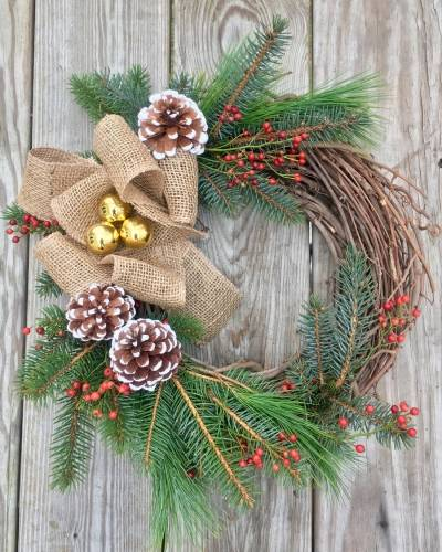 A Winter Wreath w live evergreen and burlap bow plant nite project by Yaymaker