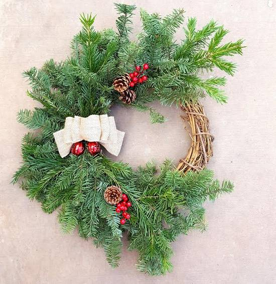 A Holiday Wreath With Live Branches and Bells plant nite project by Yaymaker