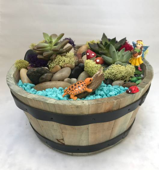 A Fairy in Wooden Barrel Planter with turtle plant nite project by Yaymaker