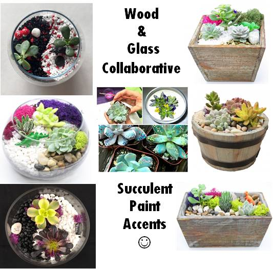 A Wood  Glass Collab wSucculent Paint Accents   plantsquadk plant nite project by Yaymaker