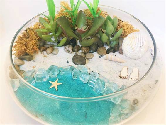 A Succulent Ocean Terrarium in Lily Bowl plant nite project by Yaymaker