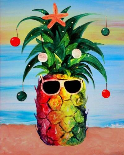 A Christmas Pineapple paint nite project by Yaymaker