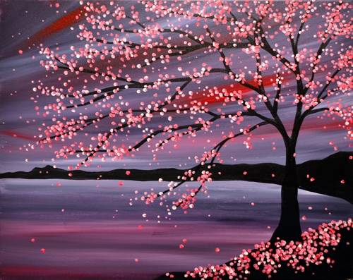 A Cherry Blossom Nights paint nite project by Yaymaker